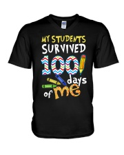 MY STUDENTS SURVIVED 100 DAYS OF ME V-Neck T-Shirt thumbnail
