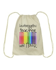 Kindergarten Teacher with Flair Drawstring Bag thumbnail