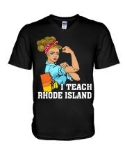 I TEACH RHODE ISLAND V-Neck T-Shirt thumbnail