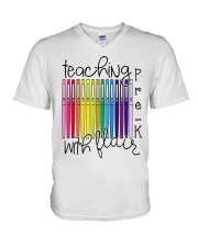 Teaching Pre-K With Flair V-Neck T-Shirt thumbnail