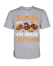 THANKFUL FOR MY 4TH GRADE TURKEYS V-Neck T-Shirt thumbnail