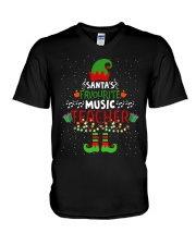 SANTA'S FAVOURITE MUSIC TEACHER V-Neck T-Shirt thumbnail