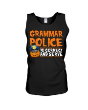 GRAMMAR POLICE TO CORRECT AND SERVE Unisex Tank thumbnail