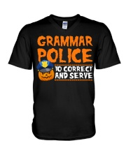 GRAMMAR POLICE TO CORRECT AND SERVE V-Neck T-Shirt thumbnail