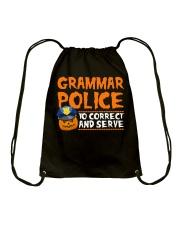 GRAMMAR POLICE TO CORRECT AND SERVE Drawstring Bag thumbnail