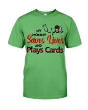 My mommy Saves lives and plays cards Premium Fit Mens Tee thumbnail