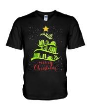 LIBRARIAN MERRY CHRISTMAS V-Neck T-Shirt thumbnail