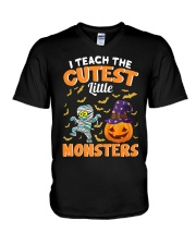 I TEACH THE CUTEST LITTLE MONSTERS V-Neck T-Shirt thumbnail