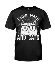 I LOVE MATH AND CATS Classic T-Shirt front
