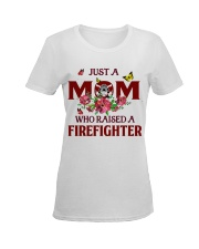 Just a Mom who raised a Firefighter Ladies T-Shirt women-premium-crewneck-shirt-front