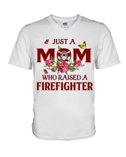 Just a Mom who raised a Firefighter V-Neck T-Shirt thumbnail