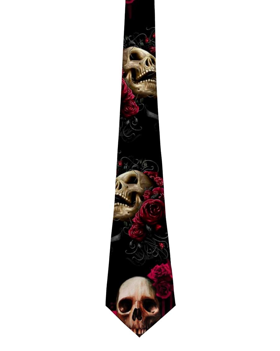 Floral Skull Skeleton Tie