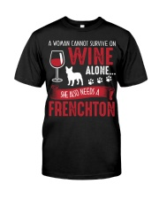 Woman Needs Wine And Frenchton Classic T-Shirt thumbnail