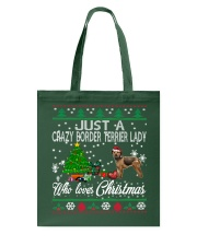 Crazy Lady Loves Border Terrier And Christmas Tote Bag thumbnail