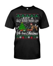 Crazy Lady Loves Border Terrier And Christmas Classic T-Shirt thumbnail