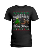 Crazy Lady Loves Border Terrier And Christmas Ladies T-Shirt thumbnail