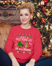 Crazy Morkie Lady Who Loves Christmas Crewneck Sweatshirt lifestyle-holiday-sweater-front-2
