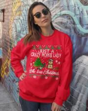 Crazy Morkie Lady Who Loves Christmas Crewneck Sweatshirt lifestyle-unisex-sweatshirt-front-3