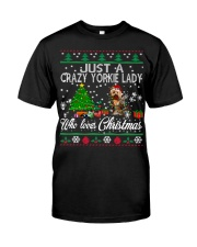 Crazy Yorkie Lady Who Loves Christmas Classic T-Shirt tile