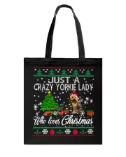 Crazy Yorkie Lady Who Loves Christmas Tote Bag tile