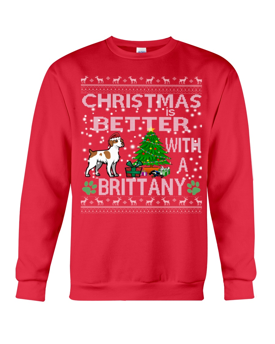 Christmas Is Better With A Brittany Crewneck Sweatshirt
