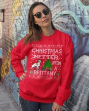 Christmas Is Better With A Brittany Crewneck Sweatshirt lifestyle-unisex-sweatshirt-front-3