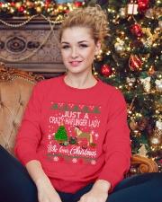 Crazy Haflinger Lady Who Loves Christmas Crewneck Sweatshirt lifestyle-holiday-sweater-front-2