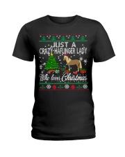 Crazy Haflinger Lady Who Loves Christmas Ladies T-Shirt thumbnail