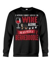 Woman Needs Wine And Bernedoodle Crewneck Sweatshirt thumbnail