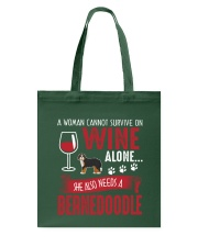 Woman Needs Wine And Bernedoodle Tote Bag thumbnail