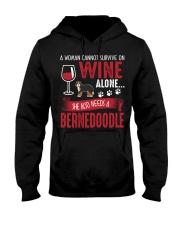 Woman Needs Wine And Bernedoodle Hooded Sweatshirt thumbnail
