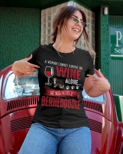 Woman Needs Wine And Bernedoodle Ladies T-Shirt apparel-ladies-t-shirt-lifestyle-01