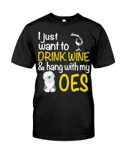 Drink Wine With Old English Sheepdog Classic T-Shirt thumbnail