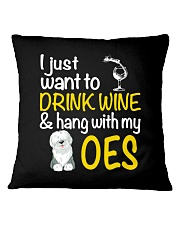 Drink Wine With Old English Sheepdog Square Pillowcase thumbnail