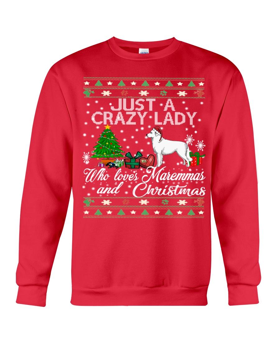 Crazy Lady Loves Maremma And Christmas Crewneck Sweatshirt