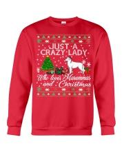 Crazy Lady Loves Maremma And Christmas Crewneck Sweatshirt front