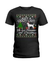 Crazy Lady Loves Maremma And Christmas Ladies T-Shirt thumbnail