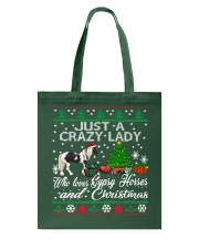Crazy Lady Loves Gypsy Horse And Christmas Tote Bag thumbnail