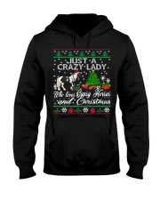 Crazy Lady Loves Gypsy Horse And Christmas Hooded Sweatshirt thumbnail