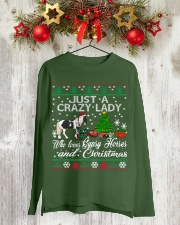 Crazy Lady Loves Gypsy Horse And Christmas Long Sleeve Tee lifestyle-holiday-longsleeves-front-2