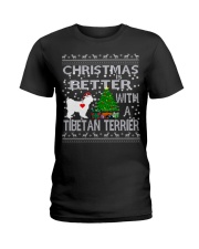 Christmas Is Better With A TIBETAN TERRIER Ladies T-Shirt thumbnail