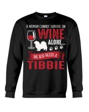 Drink WIne WIth Tibetan Spaniel Crewneck Sweatshirt thumbnail