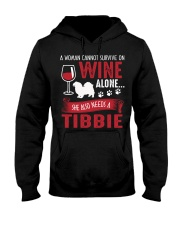 Drink WIne WIth Tibetan Spaniel Hooded Sweatshirt thumbnail