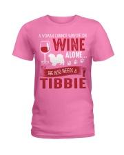 Drink WIne WIth Tibetan Spaniel Ladies T-Shirt tile