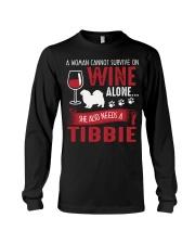 Drink WIne WIth Tibetan Spaniel Long Sleeve Tee thumbnail