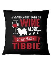 Drink WIne WIth Tibetan Spaniel Square Pillowcase thumbnail