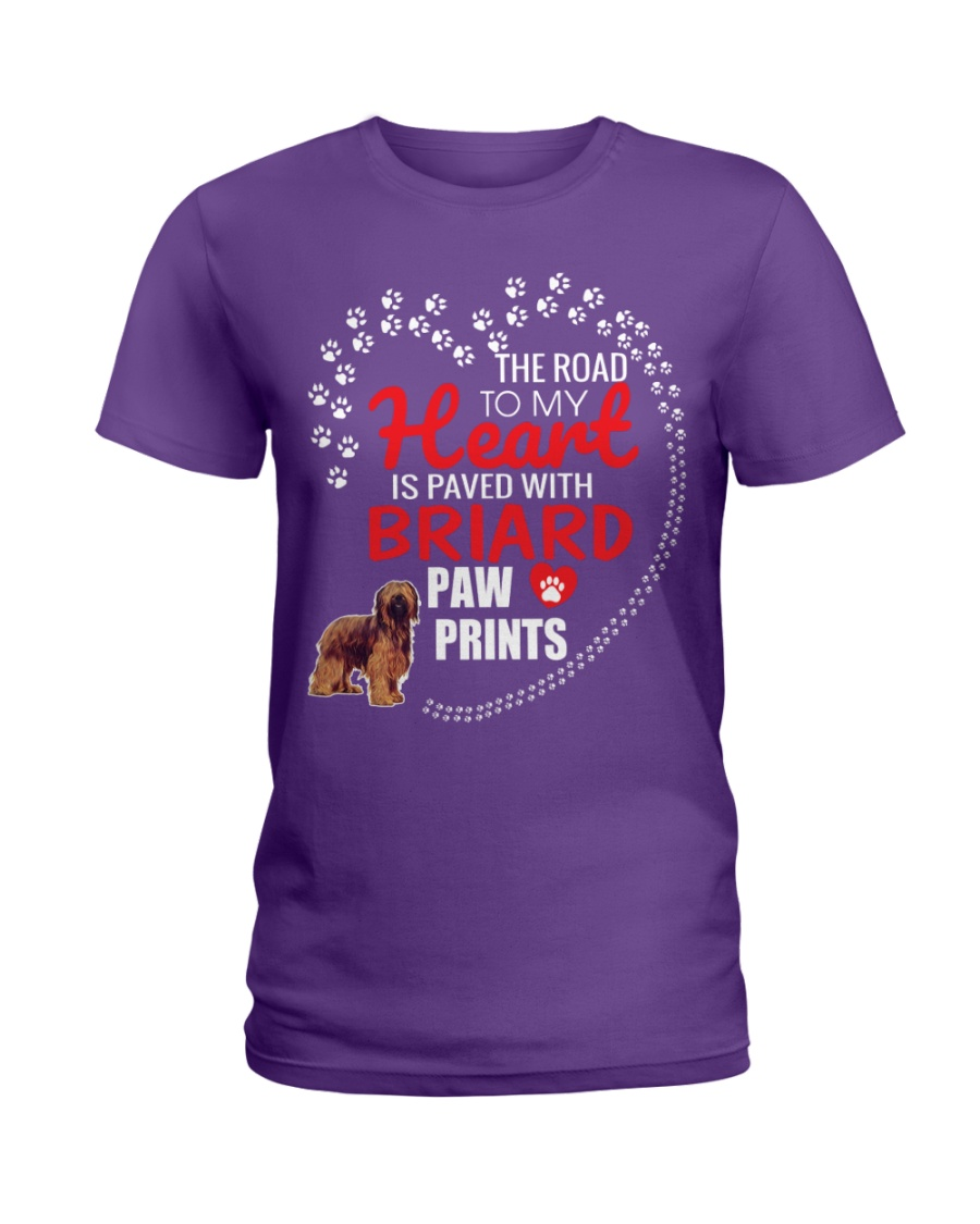 My Heart Paved With Briard Paw Prints Ladies T-Shirt