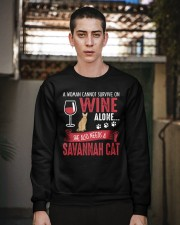 Woman Need Wine And Savannah Cat Crewneck Sweatshirt apparel-crewneck-sweatshirt-lifestyle-02