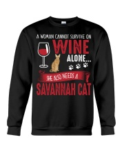 Woman Need Wine And Savannah Cat Crewneck Sweatshirt thumbnail