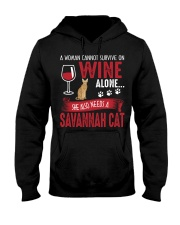 Woman Need Wine And Savannah Cat Hooded Sweatshirt tile
